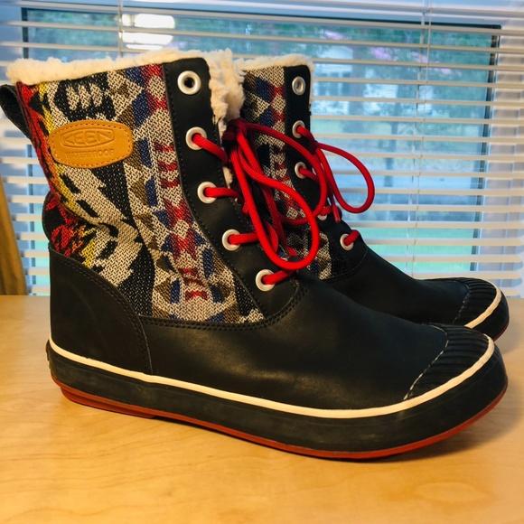 Keen Elsa Black Leather Aztec Print Winter Boots